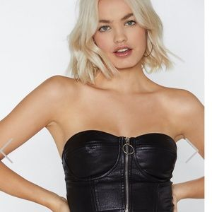 Nasty Gal strapless patent leather faux top
